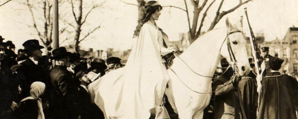 Inez Milholland leads the 1913 Suffrage parade on horseback